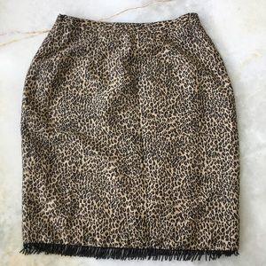 Silkland Leopard skirt with black beaded hem